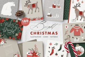 Bright Christmas Illustrations and Patterns Set