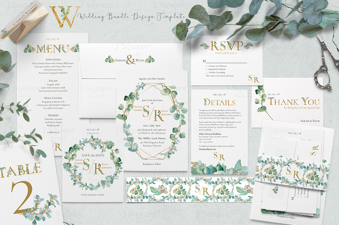 Deluxe Watercolor & Gold Eucalyptus Graphic Pack