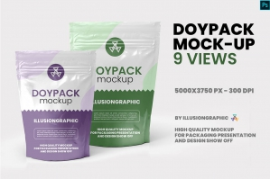 Doypack Mockup - 9 Views