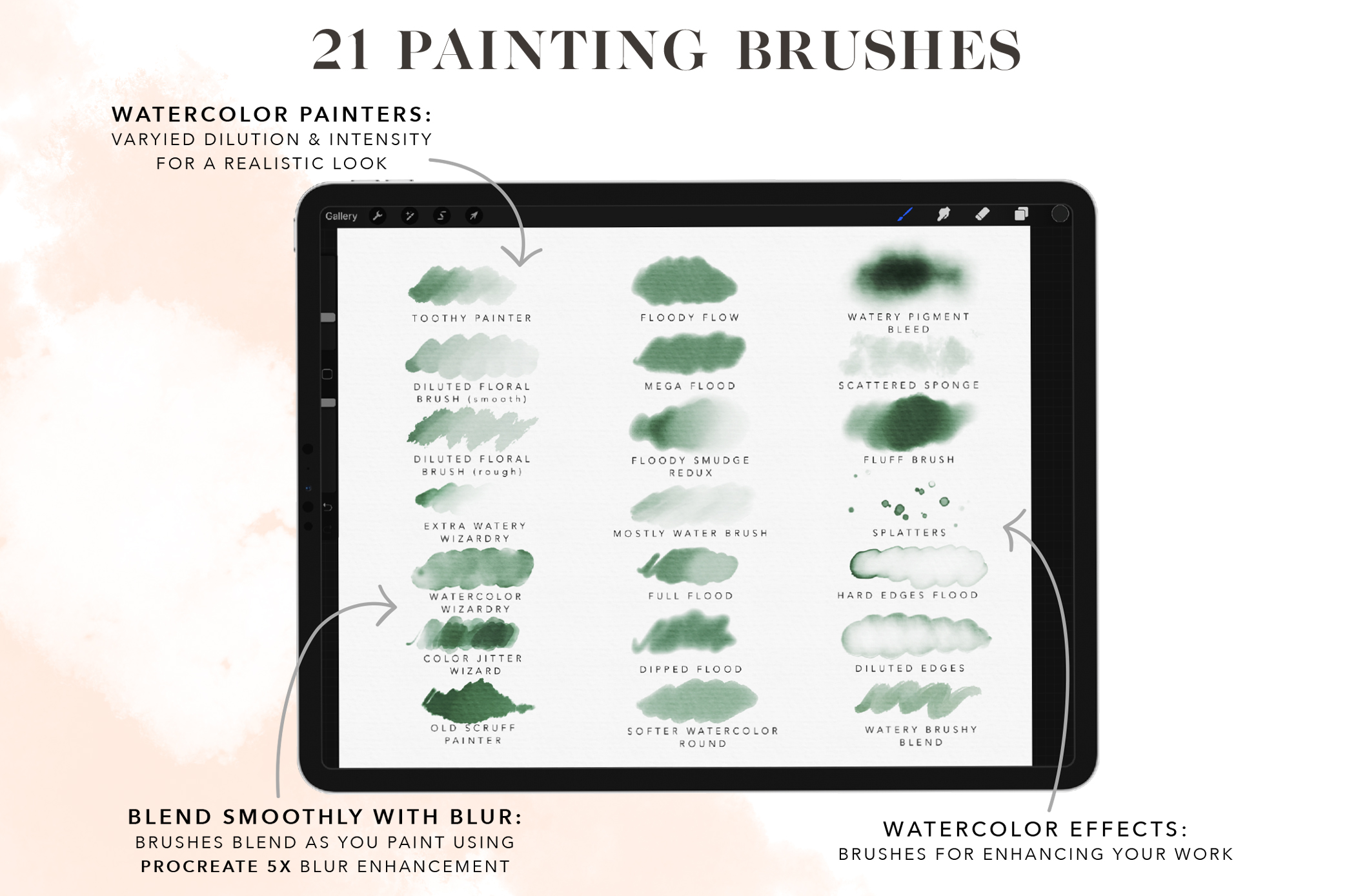 Flooded Watercolor Brushes for Procreate