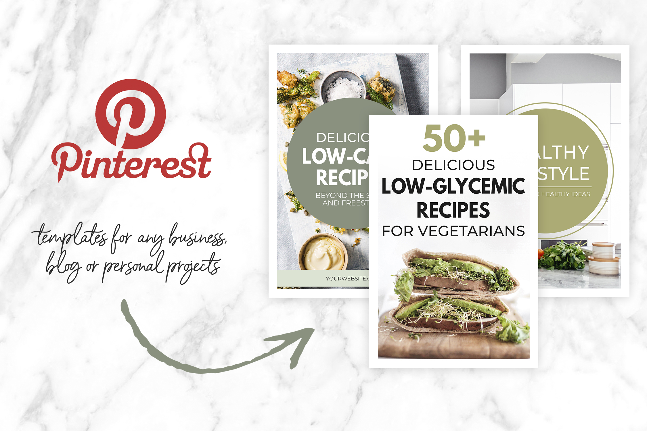 Green Pinterest Templates for Bloggers