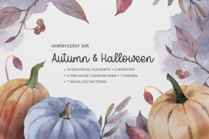 Halloween and Autumn Watercolor Set