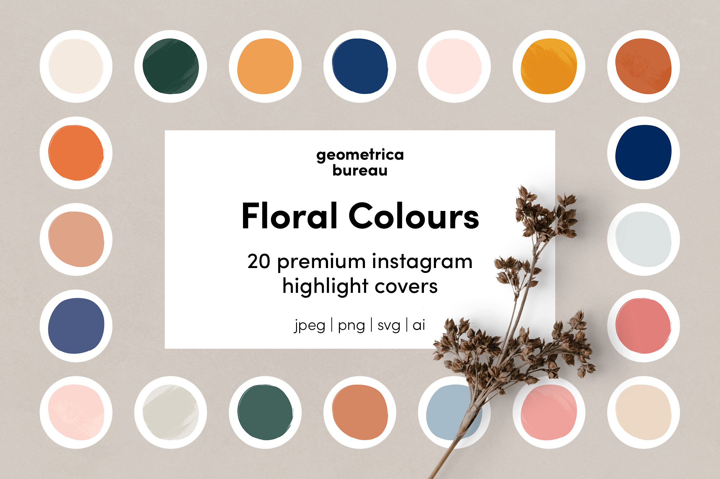 Instagram Highlight Covers Floral Colours