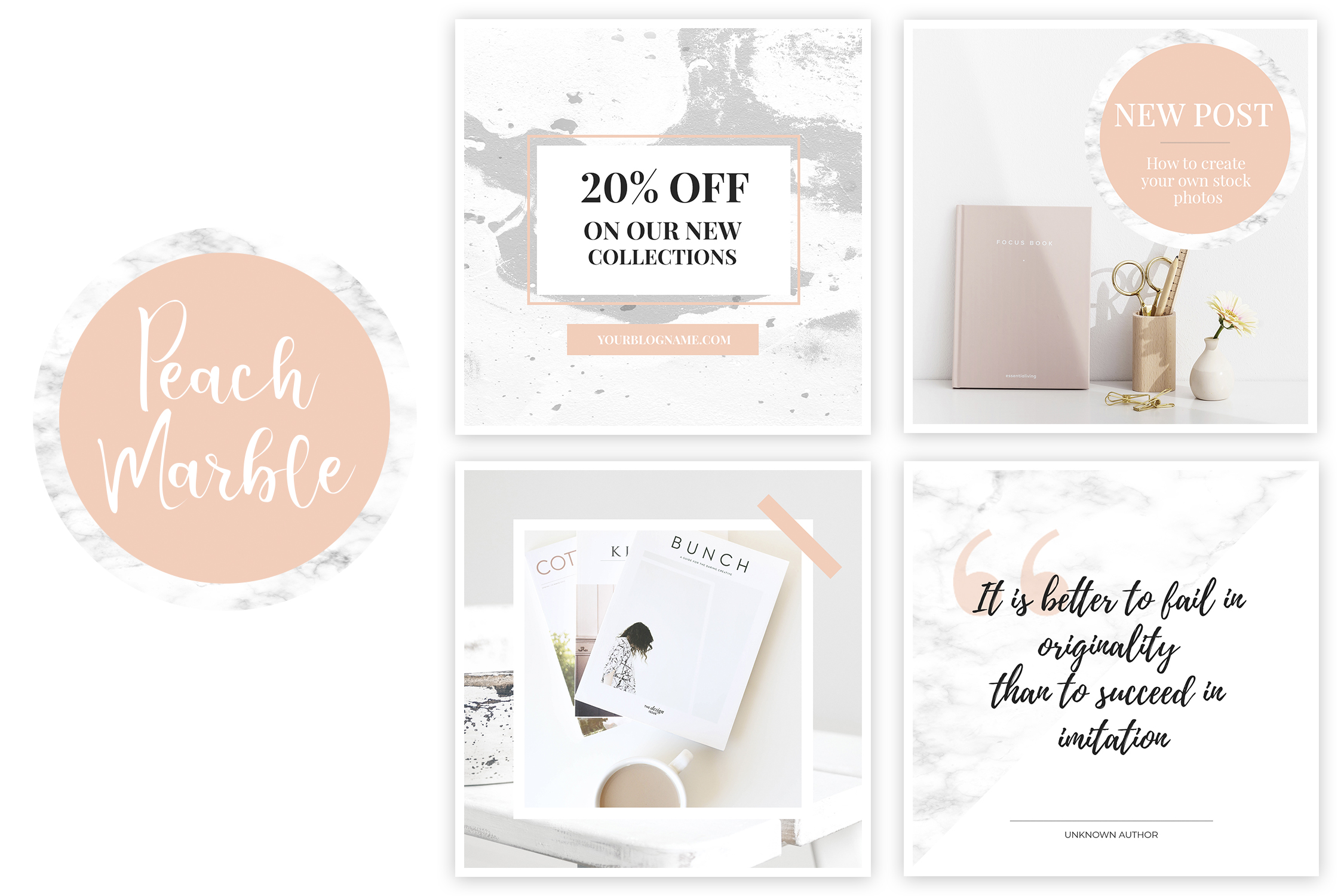 Instagram Templates for Photoshop. Peach & Marble