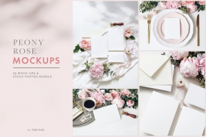 Peony & Rose Wedding Mockups Bundle
