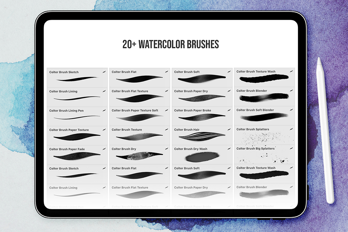 Procreate Colter Brush - 20+ Watercolor Brushes