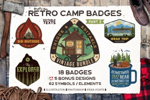 Retro Camp Badges / Logo Templates Part 3