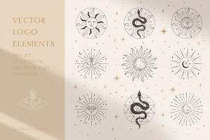 Sacred Sun Logo Design Illustrations - Moon & Stars