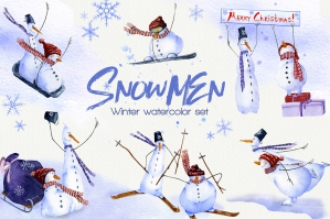 Snowmen Watercolor Winter Set