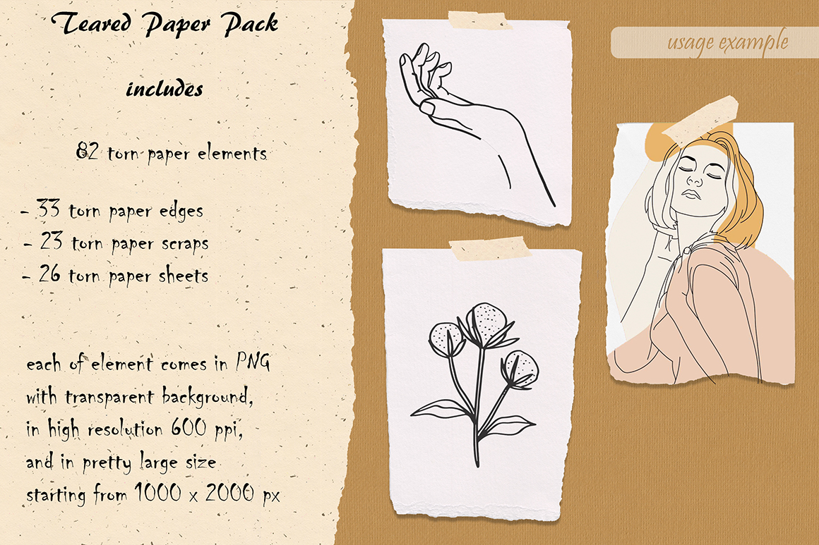 Teared Paper Pack - 82 Canvas & Watercolor Sheets