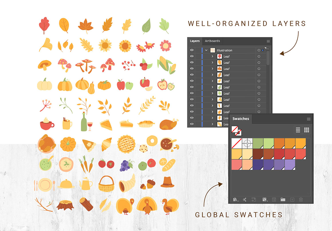 Thanksgiving Vector Illustrations & Graphics Pack