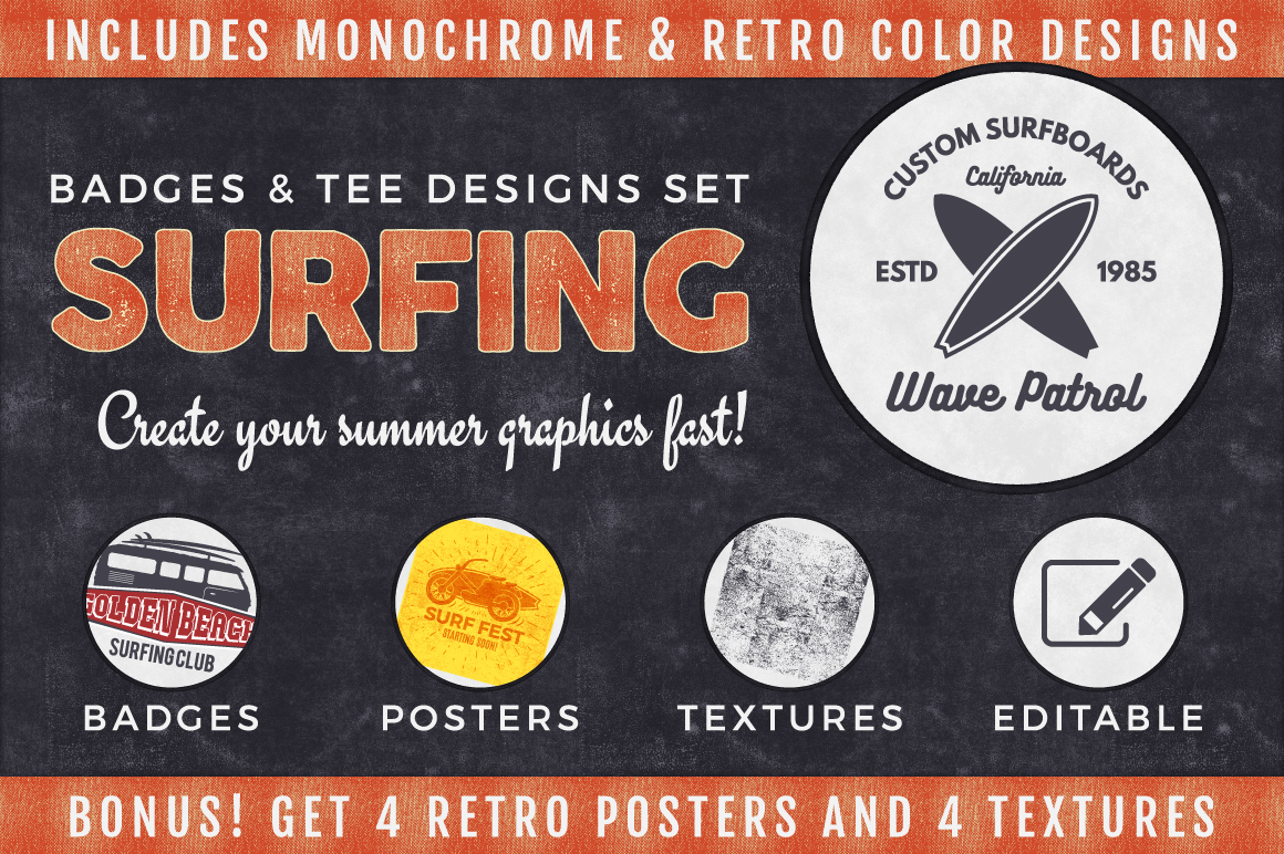 Vintage Surfing Logo Graphics Collection Vol.2