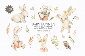 Watercolor Baby Bunnies - Baby Shower