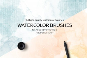 Watercolor Brushes for Photoshop & Illustrator