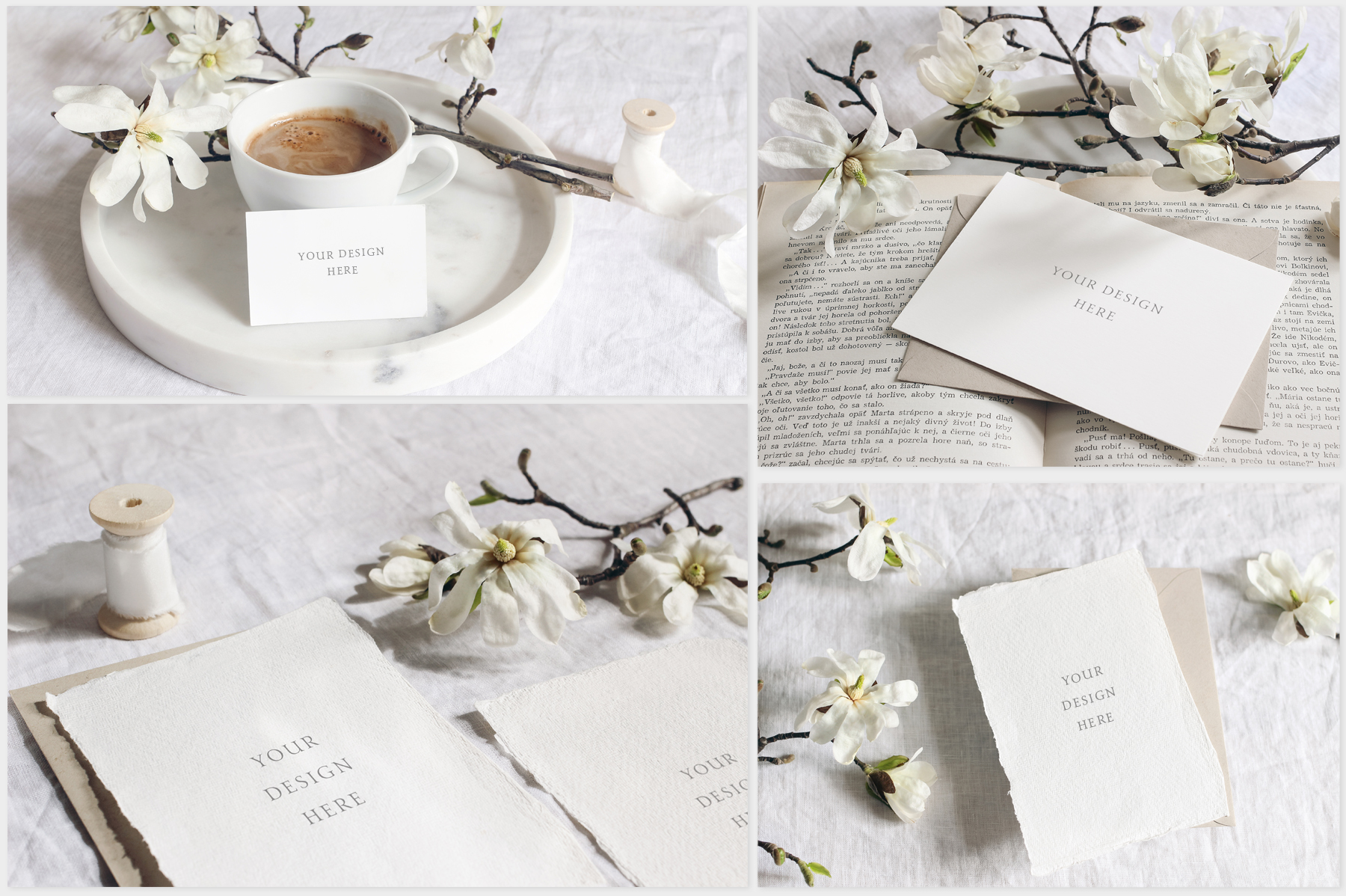White Magnolia Wedding Photo Mockups