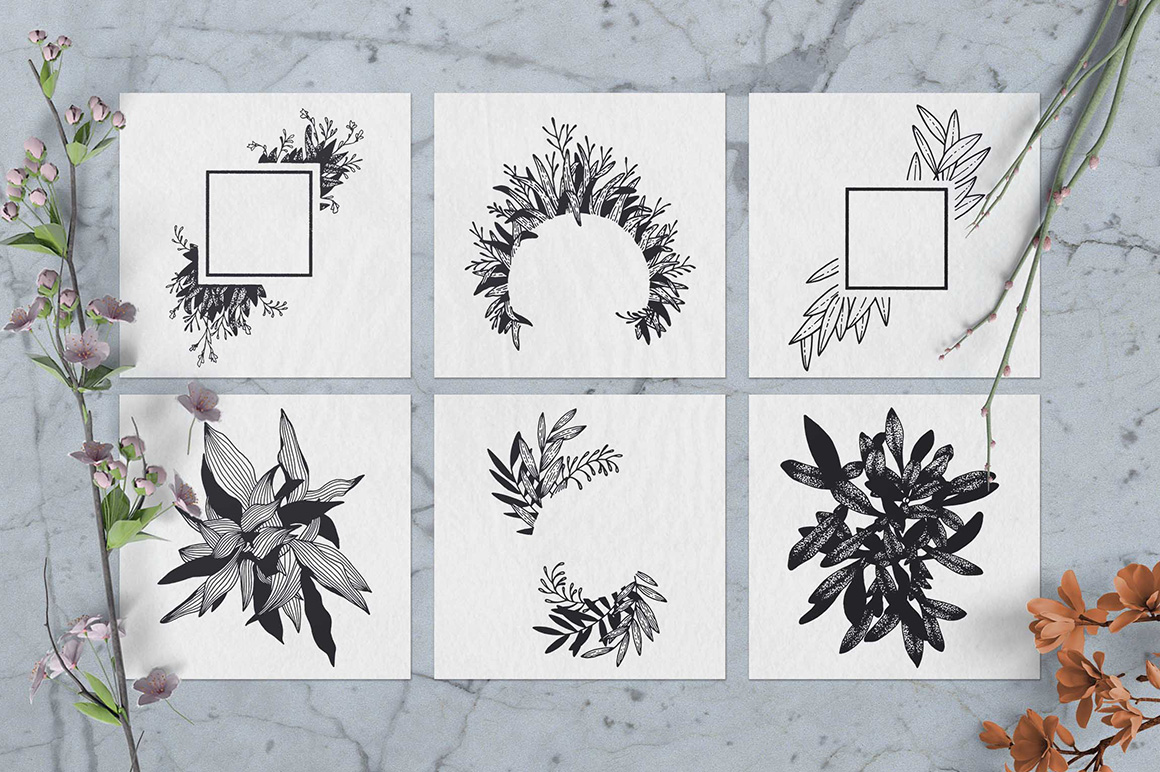100 Hand Drawn Elements - Floral