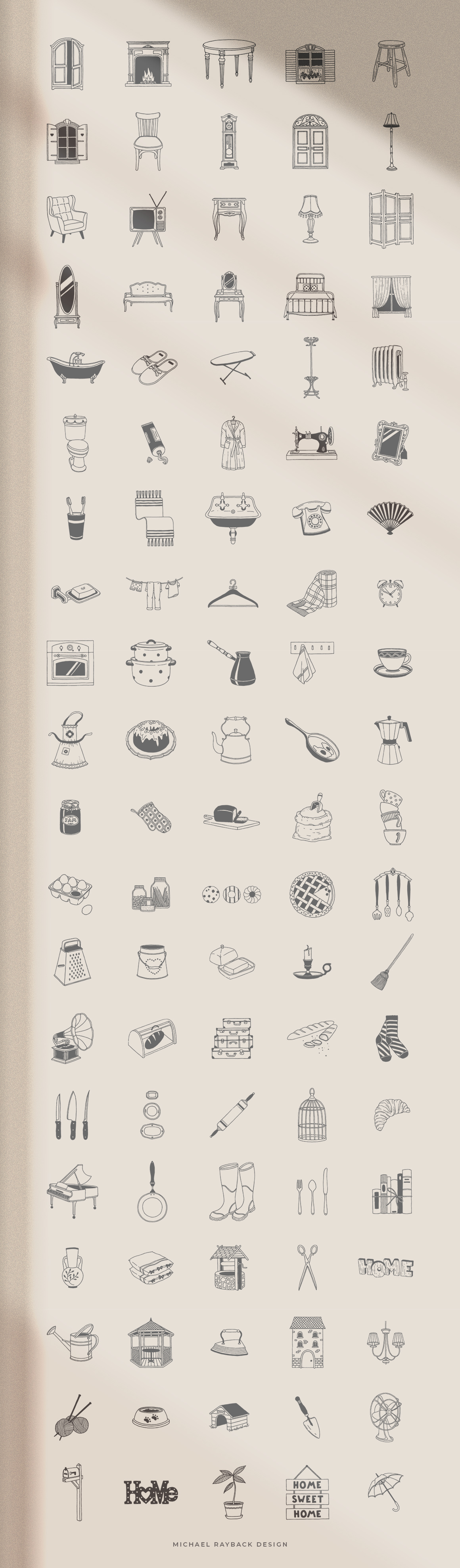 100 Hand Drawn Elements - Home