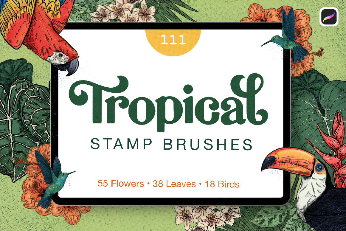 111 Tropical Stamp Brushes for Procreate