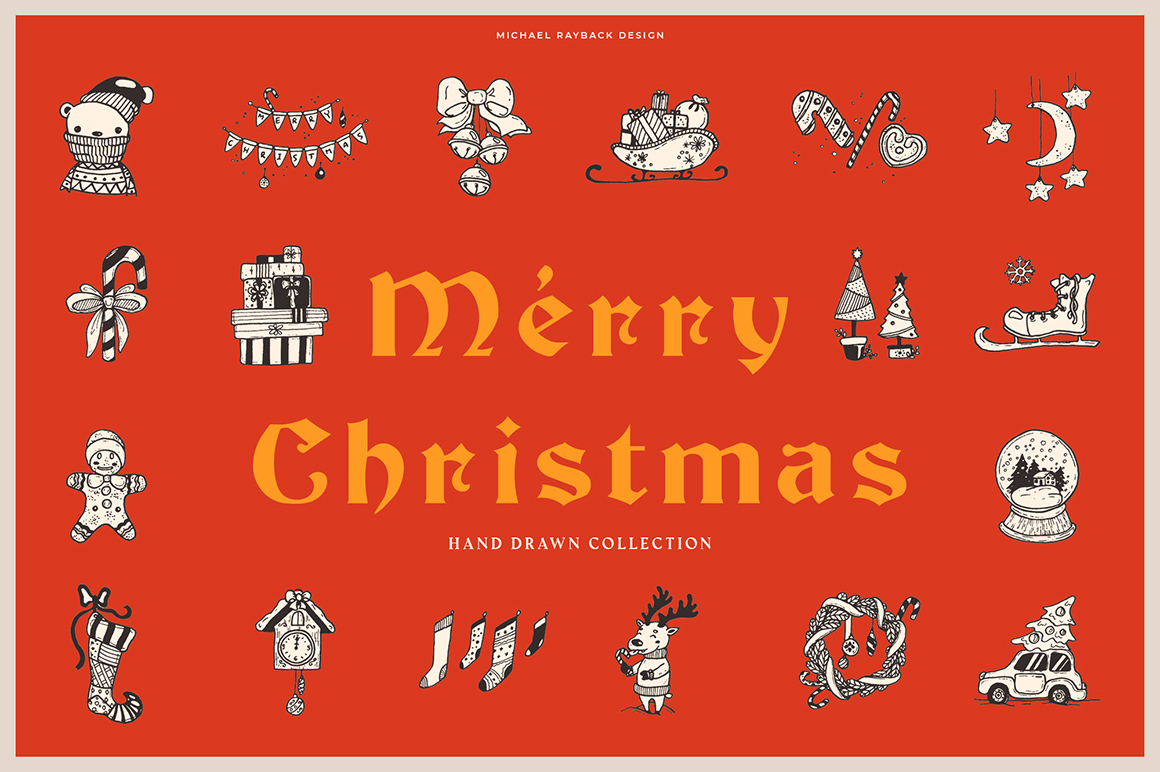 150 Hand Drawn Elements - Christmas