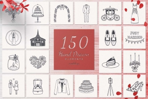 150 Hand Drawn Elements - Wedding