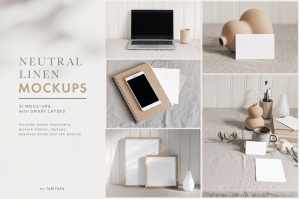 31 Neutral Linen Photo Mockups Bundle