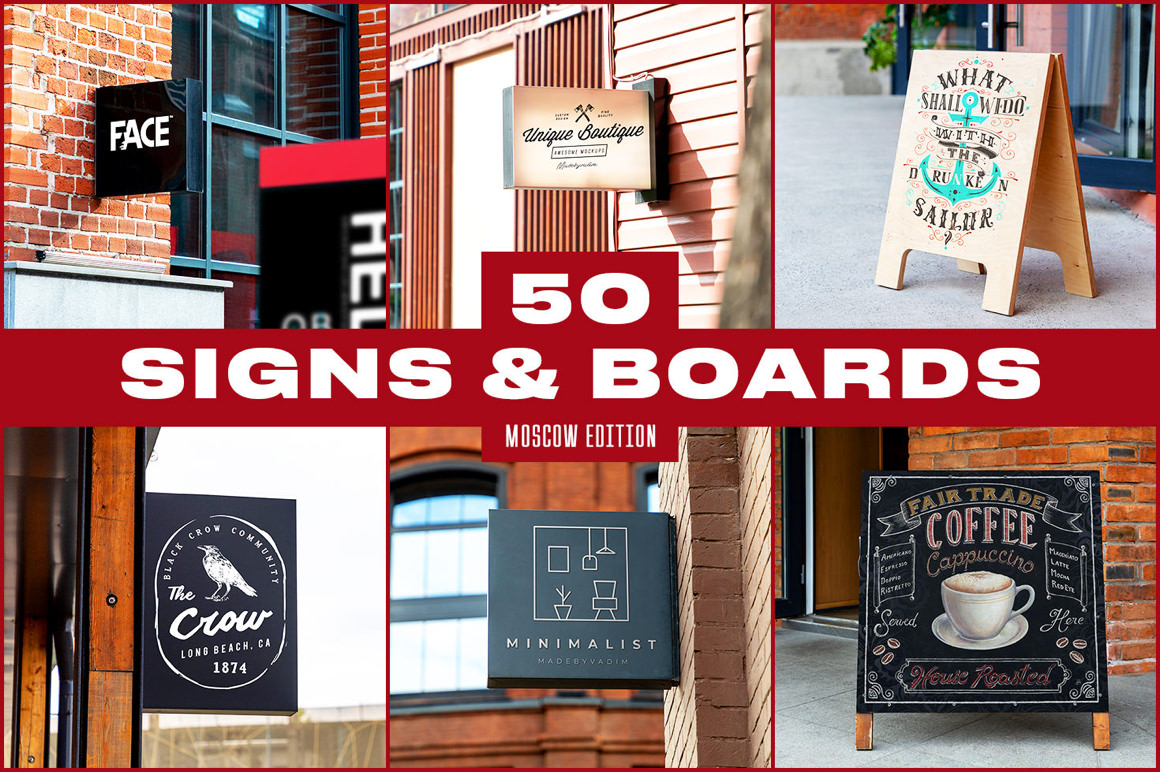 50 Signs and Boards Mockups (Moscow Edition)