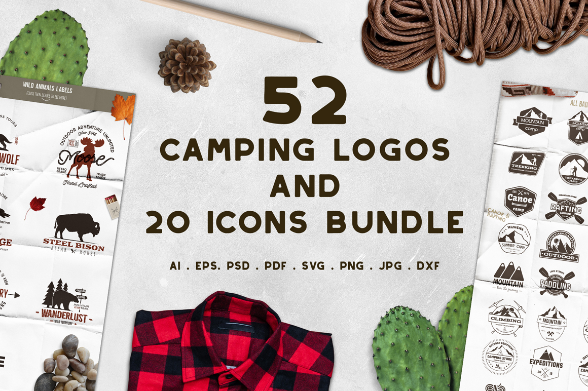 52 Camping Logos + 20 Icons Collection