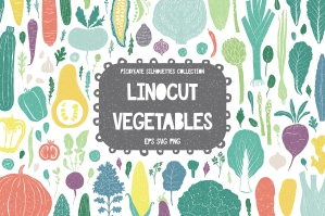 90 Linocut Vegetables Silhouettes