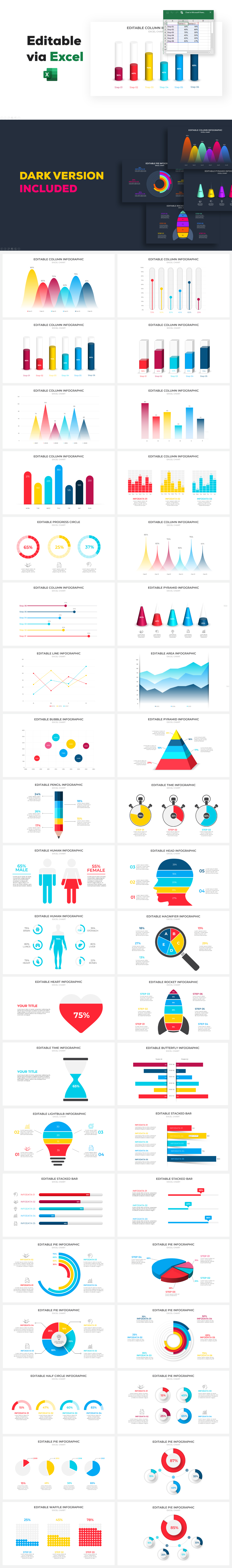 Animated Excel Charts PowerPoint Infographic
