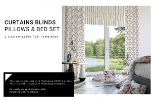 Bedroom Textile - Curtains Blinds Pillows Set
