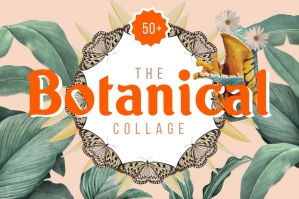 Botanical Collage Cut-Outs: Digital Art Maker Kit