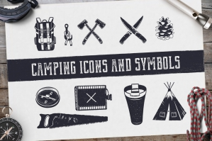 Bushcraft Icons and Hiking Symbols