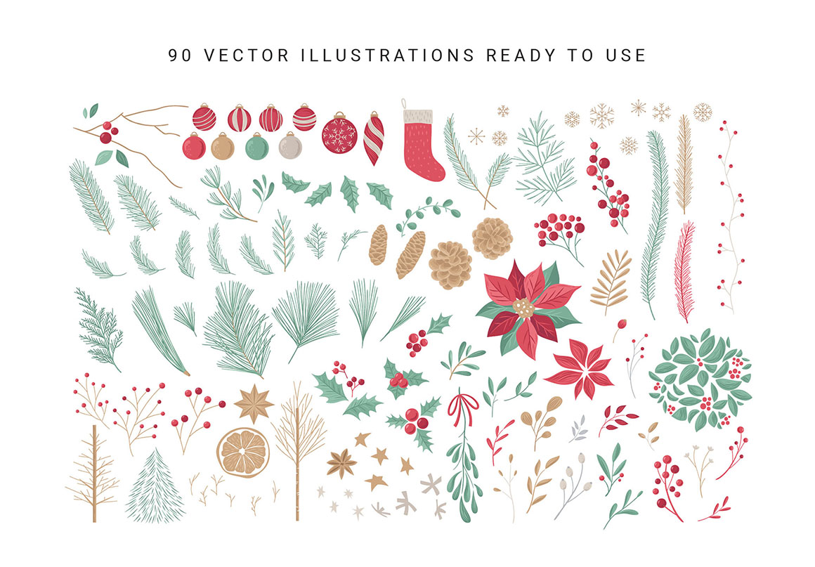 Christmas Clipart & Festive Vector Graphics Pack