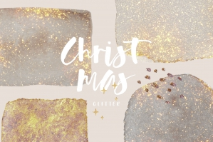 Christmas Gold Watercolor Shapes
