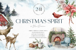 Christmas Spirit Watercolor Winter Clipart