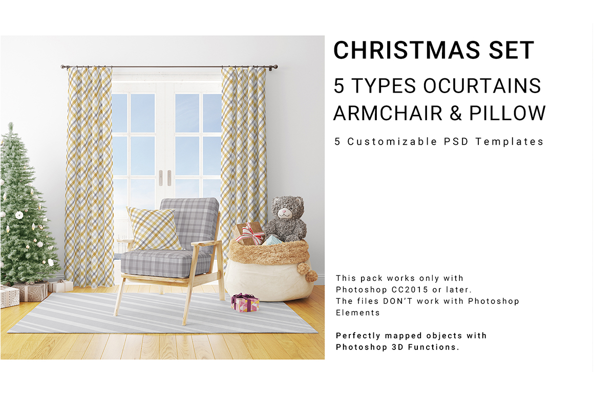 Christmas Textile - 5 Types of Curtains, Armchair