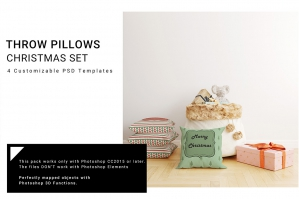 Christmas Throw Pillows Mockup Set