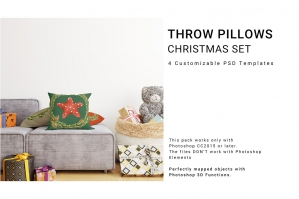 Christmas Throw Pillows Mockup Set 2