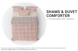 Duvet Comforter and Shams Mockups
