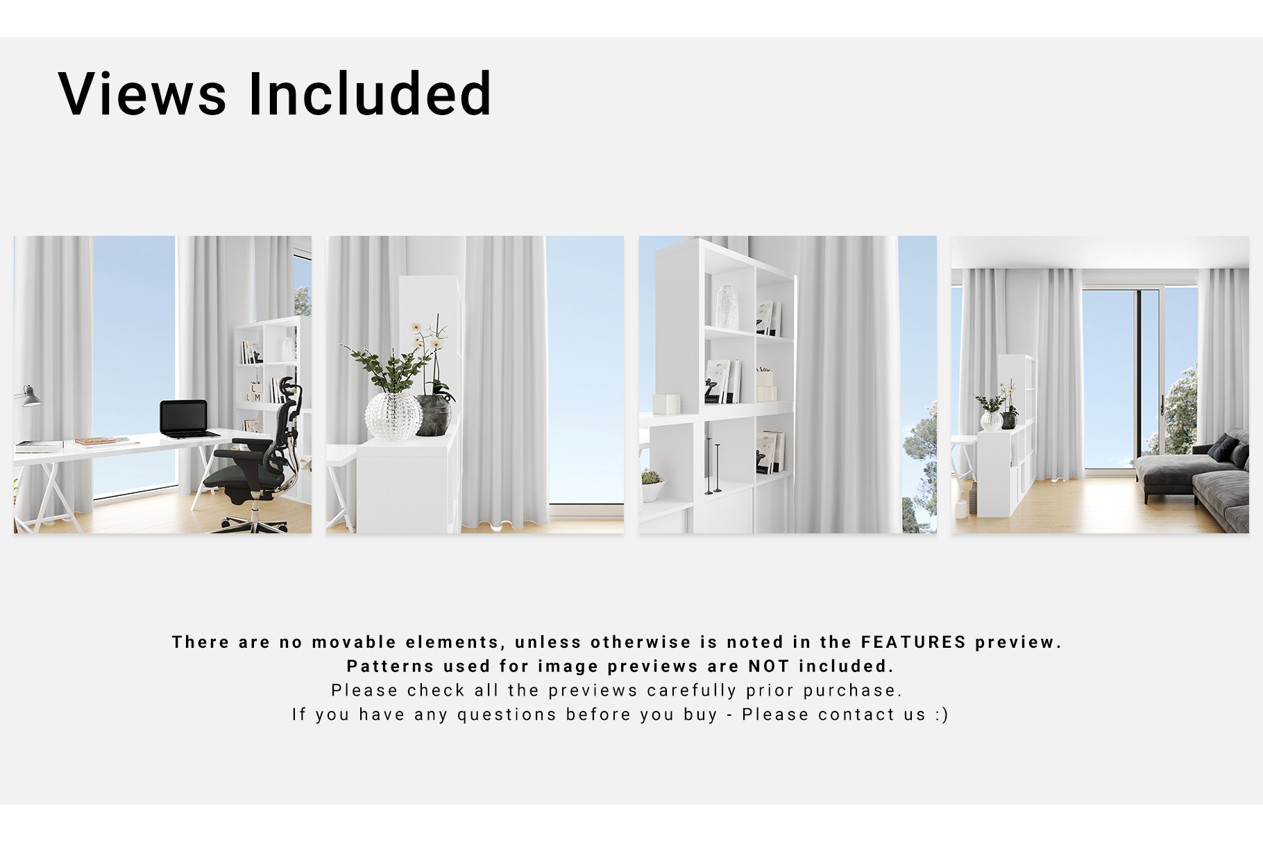 Home Office Textile - Long Curtains Mockup Set