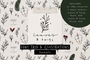 Leaves and Twigs Font Trio and Extras Sample
