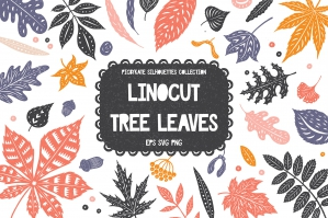 Linocut Tree Leaves Silhouettes Collection