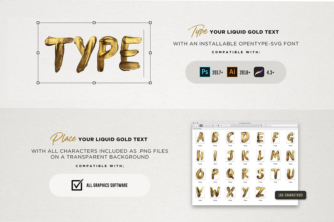 Liquid Gold SVG Font + Actions