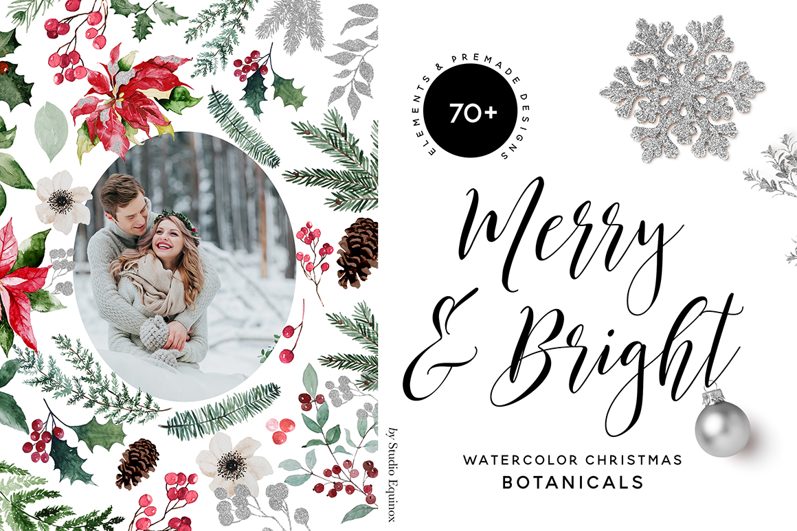 Merry and Bright - Watercolor Christmas Botanicals
