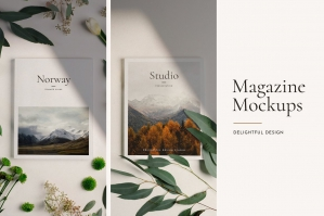 Minimal Magazine Mockup Photoshop Kit With Shadows