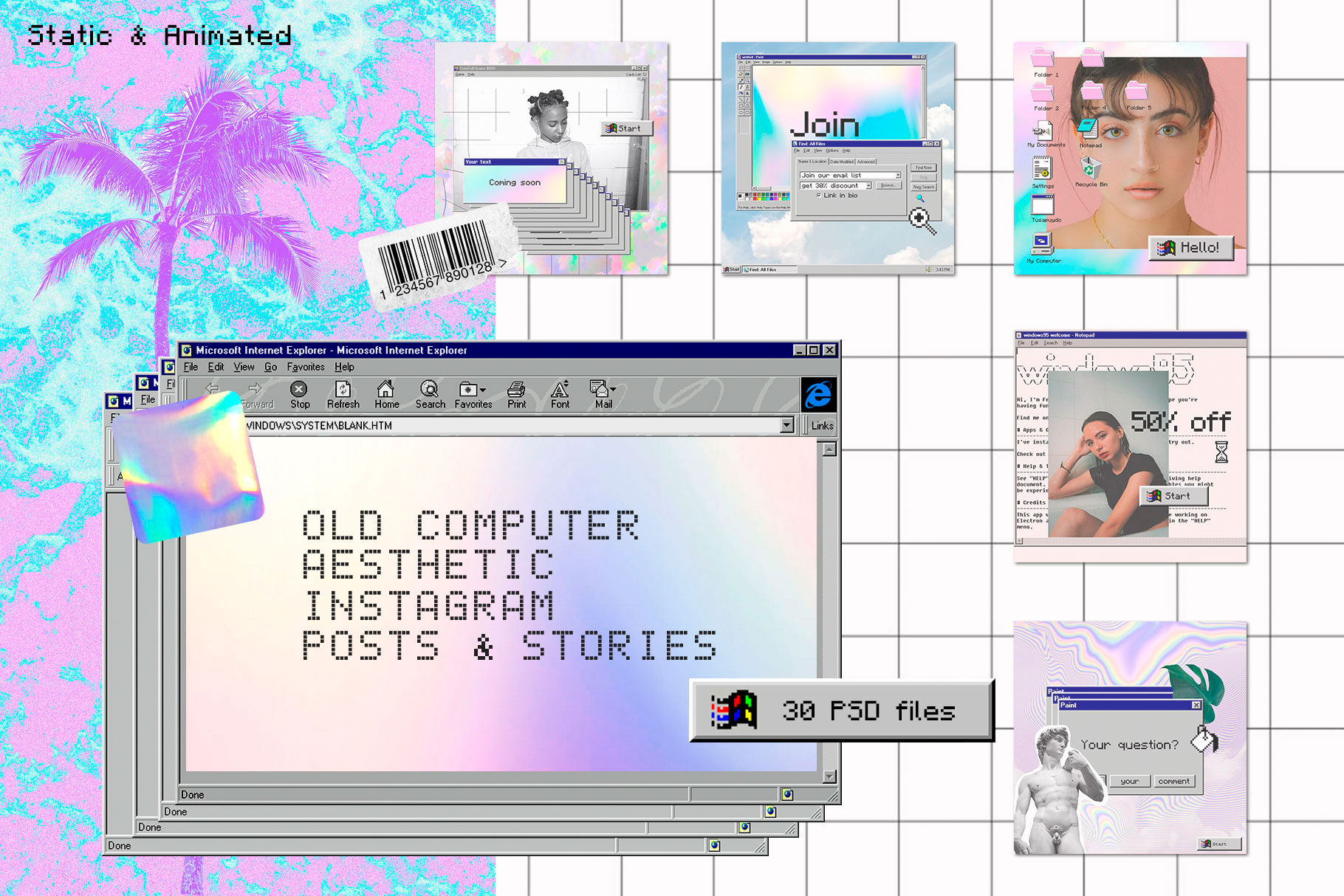 Old Computer Instagram Templates PS