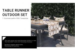 Outdoor Table Runner & Pillows Set