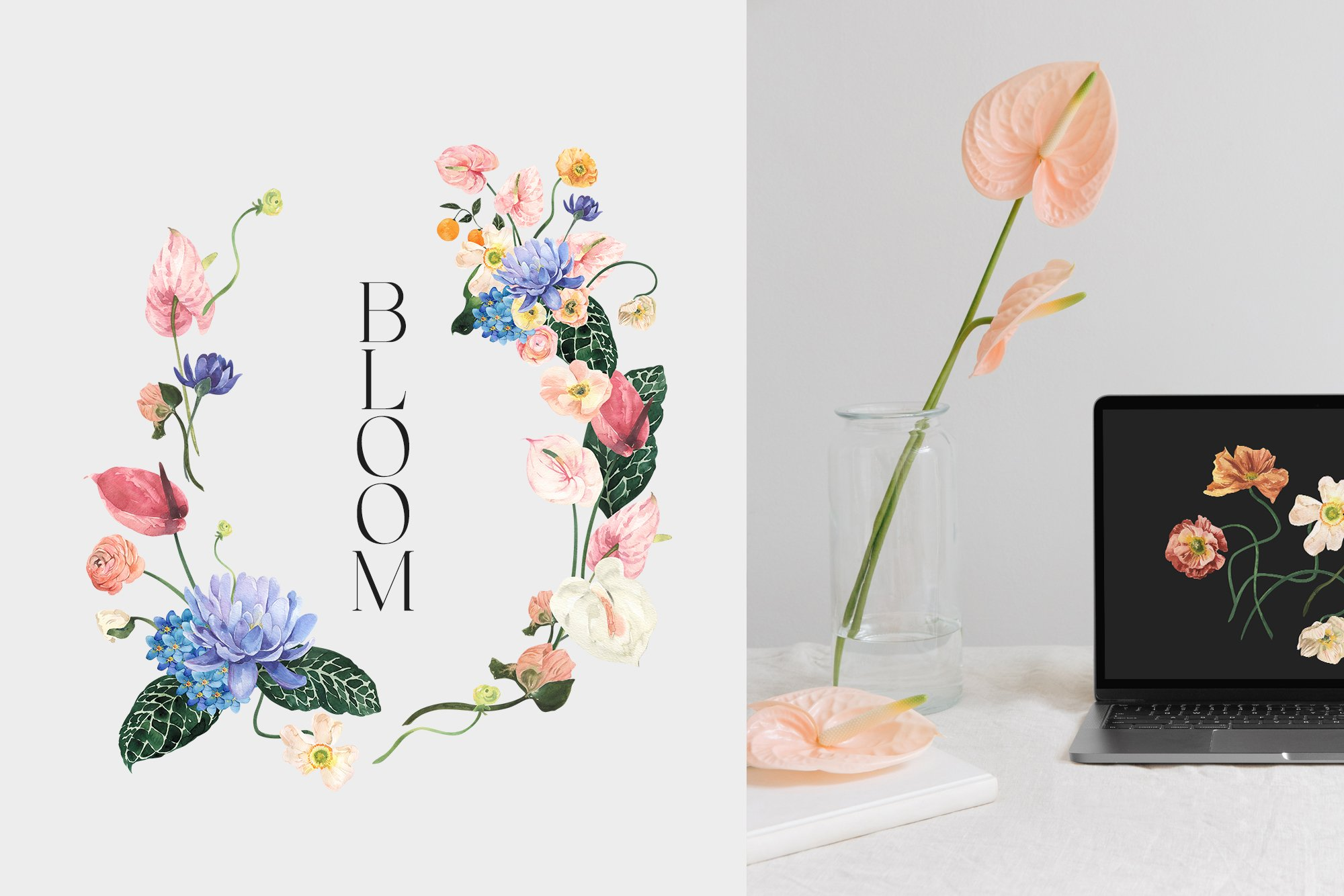 Psychedelic Flowers - Bright Floral Watercolor Set