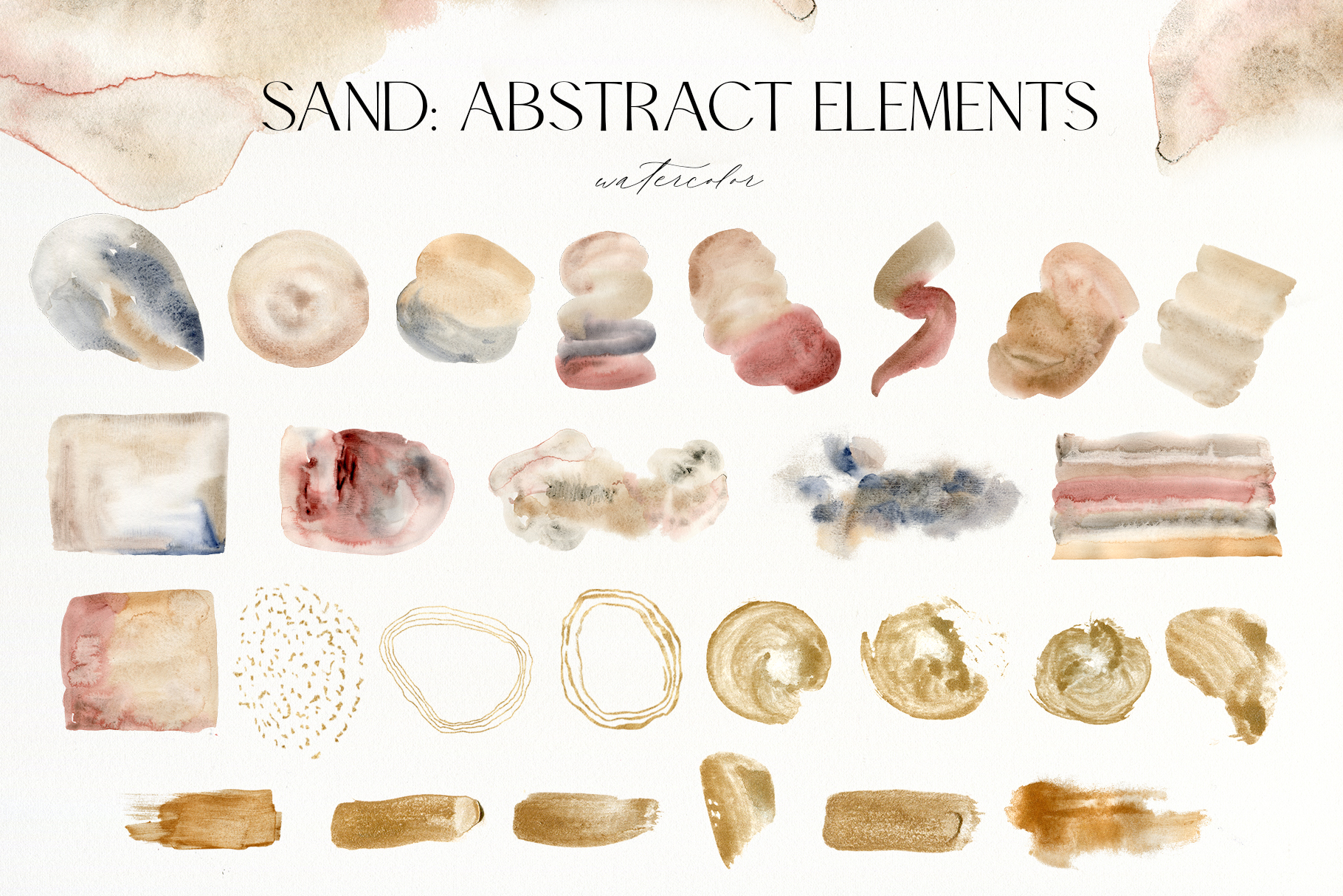 Sand Neutral Watercolor Abstract Textures
