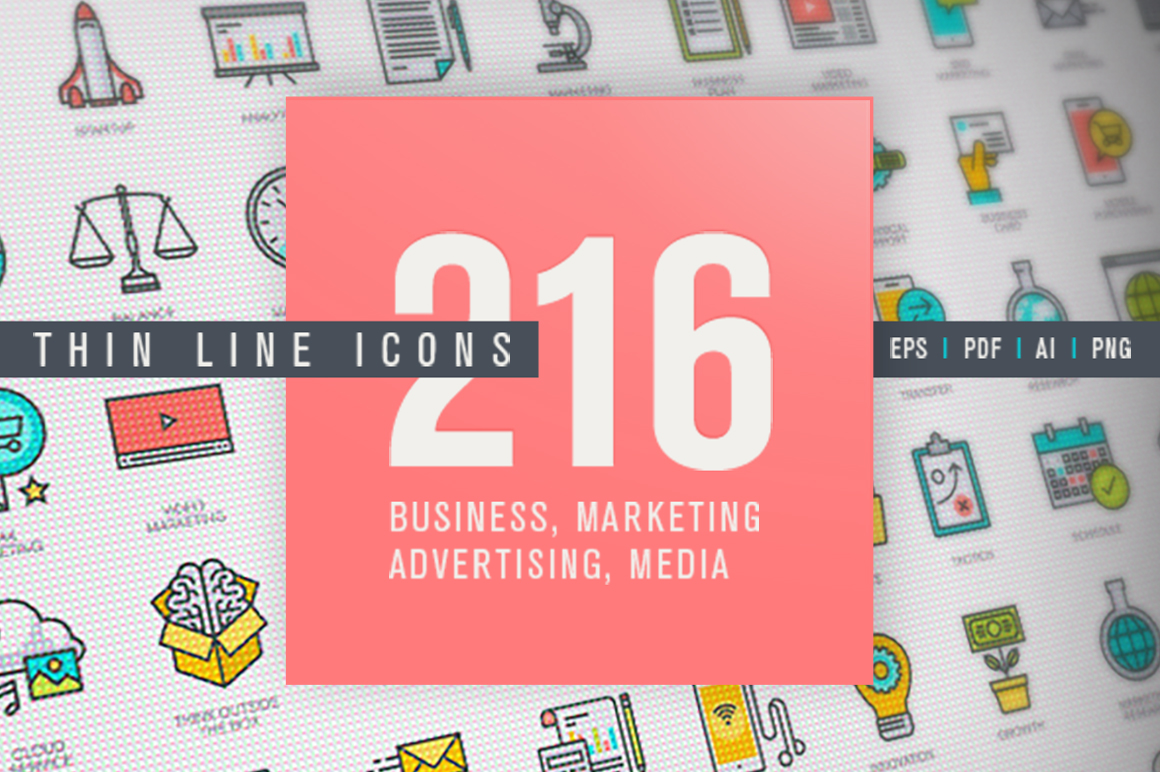 Set of Thin Line Icons for Business and Marketing